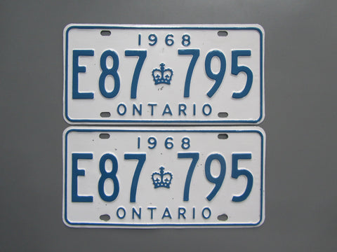 1968 YOM Clear Ontario License Plates
