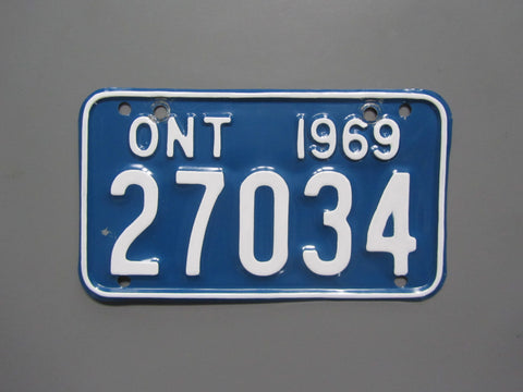 1969 YOM Clear Ontario Motorcycle License Plate