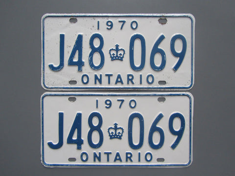 1970 YOM Clear Ontario License Plates