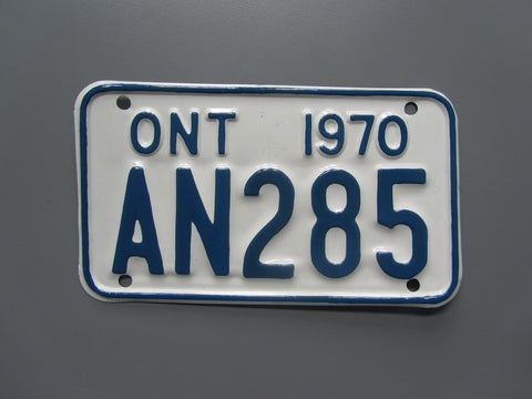 1970 YOM Clear Ontario Motorcycle License Plate