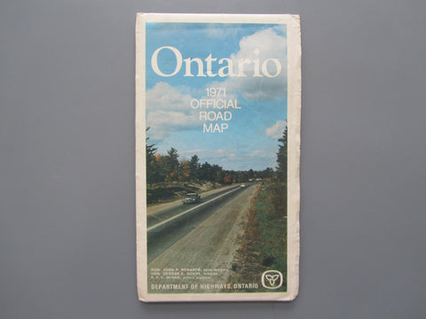 1971 Ontario Official Government Road Map