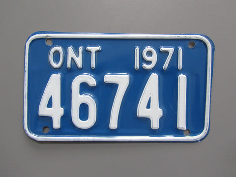 1971 YOM Clear Ontario Motorcycle License Plate