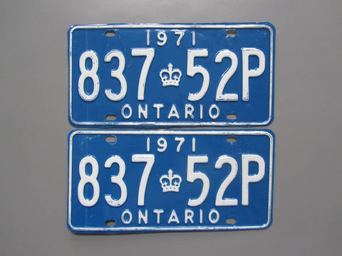 1971 YOM Clear Ontario License Plates