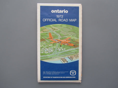 1972 Ontario Official Government Road Map