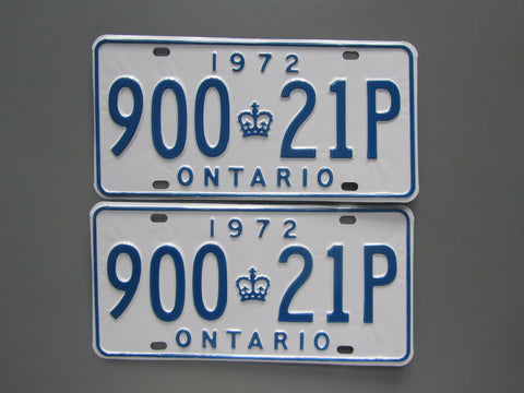 1972 YOM Clear Ontario License Plates