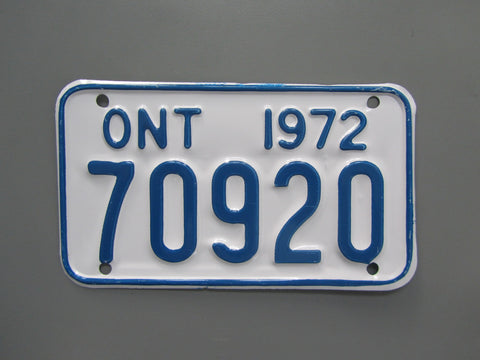 1972 YOM Clear Ontario Motorcycle License Plate