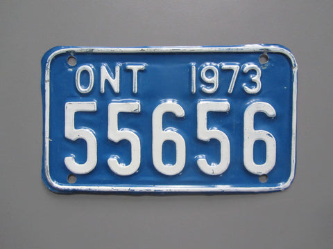 1973 YOM Clear Ontario Motorcycle License Plate