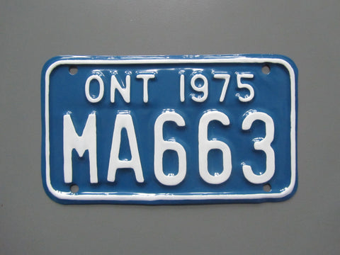 1975 YOM Clear Ontario Motorcycle License Plate