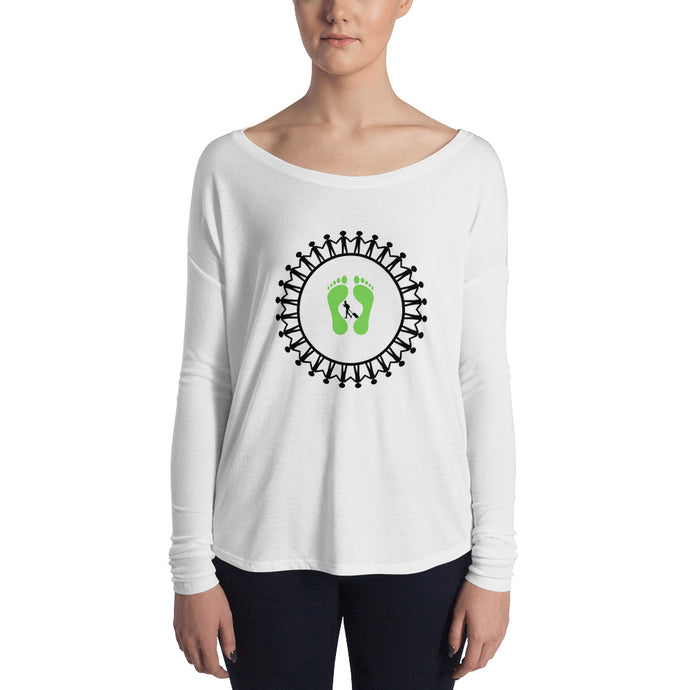 Green Footprints Long Sleeve Tee