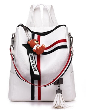 vegan leather backpack purse white