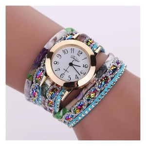 Colorful Multi-Layer Leather Quartz Watch - Bsq644W Blue