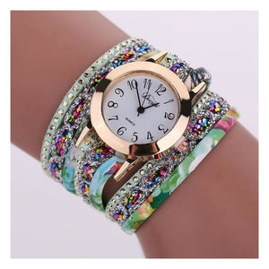 Colorful Multi-Layer Leather Quartz Watch - Bsq645W Green