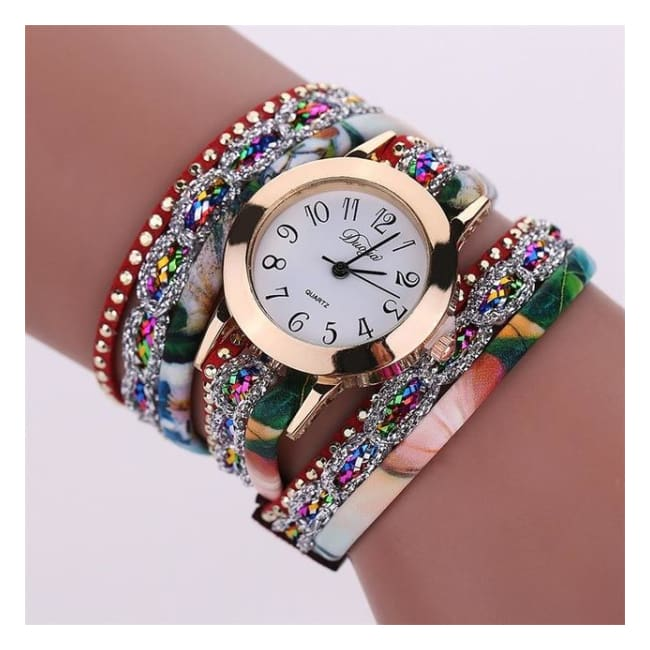 Colorful Multi-Layer Leather Quartz Watch - Bsq646W Red
