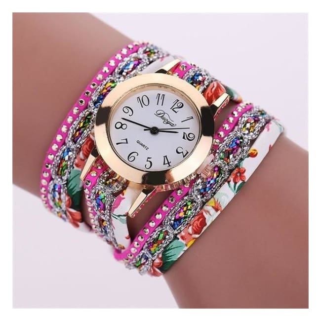 Colorful Multi-Layer Leather Quartz Watch - Bsq647W Rose