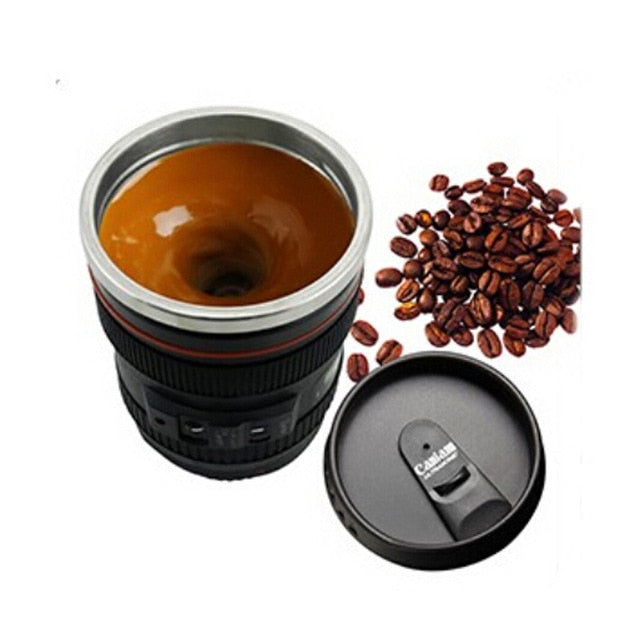 Self Stirring Camera Lense Mug