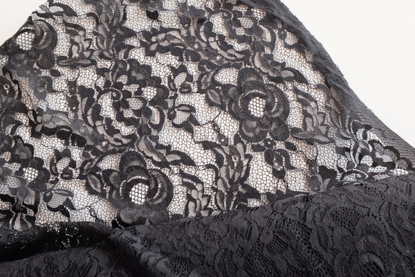 Rose Jacquatronic Lace | Solid Black