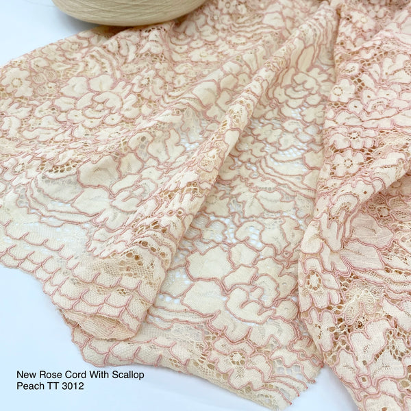 Brocade New Rose Cord (with scallop) | Solid