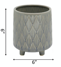 "Load image into Gallery viewer, 6"" Diamond Line Ceramic Planter With Legs - La Mère Clothing + Goods"