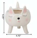 "4"" Cute Pink Girl Cat Ceramic With Legs - La Mère Clothing + Goods"