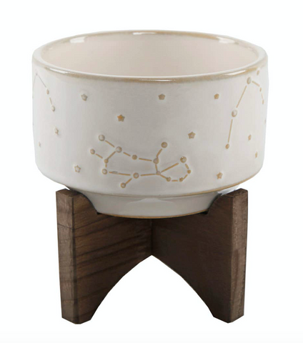 "4"" Constellation Ceramic Pot On Wood Stand - La Mère Clothing + Goods"