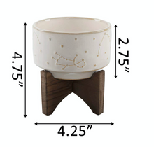"Load image into Gallery viewer, 4"" Constellation Ceramic Pot On Wood Stand - La Mère Clothing + Goods"