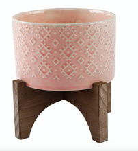 "Load image into Gallery viewer, 5"" Indian Ceramic Planter On Wood Stand Pink - La Mère Clothing + Goods"