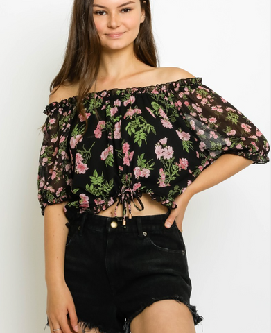 Black Floral OTS Blouse - La Mère Clothing + Goods