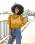 Crotchet Short Sleeve Crop Top - La Mère Clothing + Goods