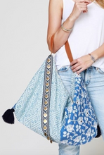 Load image into Gallery viewer, Embroidered Blue Shoulder Bag - La Mère Clothing + Goods