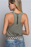 Olive Zip Pocket Tank - La Mère Clothing + Goods
