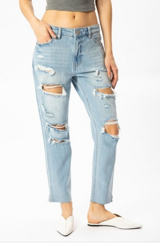 Light Wash Distressed Jeans - La Mère Clothing + Goods