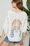 Embroidered Peacock Cut Out Back Top - La Mère Clothing + Goods