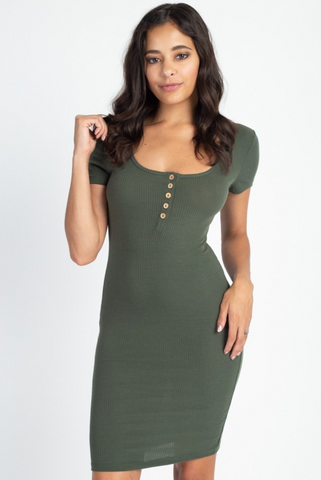 Button Down Bodycon Mini Dress - La Mère Clothing + Goods