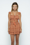 Ruffled Straps Crop Top & Smocked Mini Skirt Set - La Mère Clothing + Goods