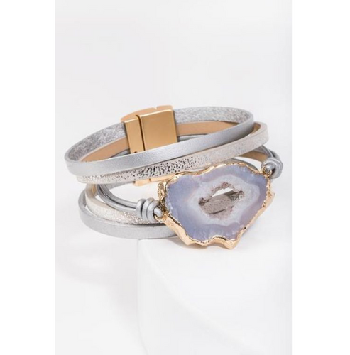 Silver Leather Druzy Bracelet - La Mère Clothing + Goods
