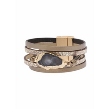 Load image into Gallery viewer, Bronze Leather Druzy Bracelet - La Mère Clothing + Goods