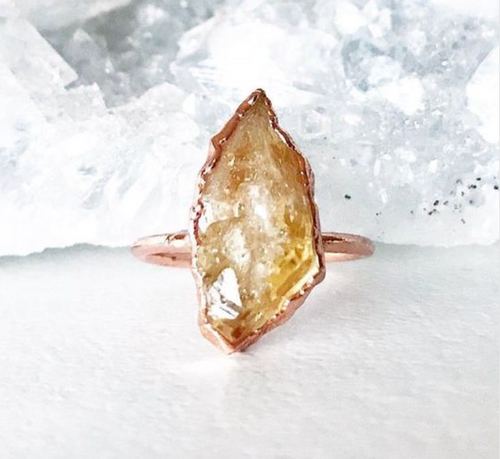 Chunky Raw Citrine Ring - La Mère Clothing + Goods