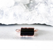 Load image into Gallery viewer, Black Tourmaline Horizontal Bar Ring - La Mère Clothing + Goods