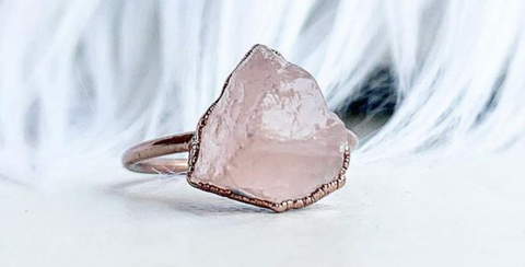 Raw Rose Quartz Stacking Ring - La Mère Clothing + Goods