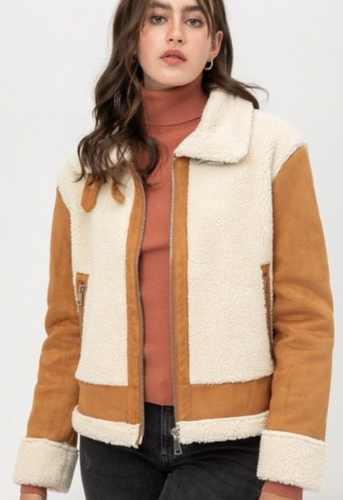 Suede Sherpa Moto Jacket - La Mère Clothing + Goods