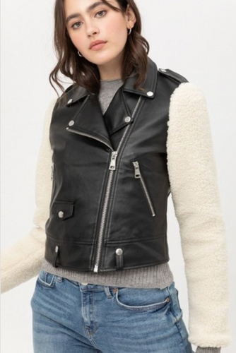 Sherpa Sleeve Moto Jacket - La Mère Clothing + Goods