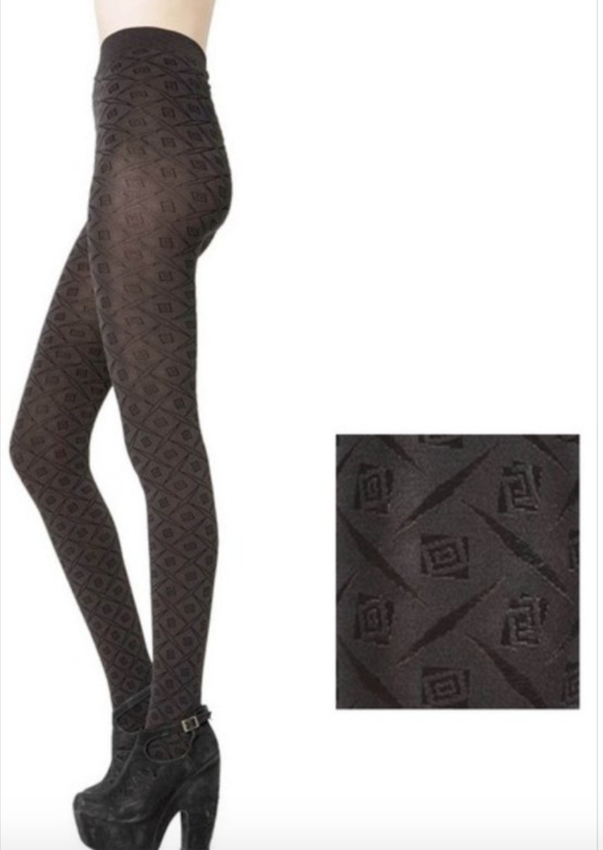 Black Printed Tights - La Mère Clothing + Goods