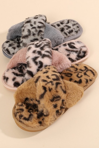 Leopard Fur Slippers - La Mère Clothing + Goods