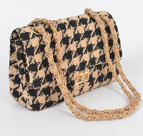 Tweed Houndstooth Shoulder Bag - La Mère Clothing + Goods