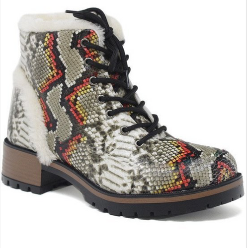 Snake Skin Combat Boot - La Mère Clothing + Goods