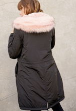 Load image into Gallery viewer, Fur Hood Long Bomber Jacket - La Mère Clothing + Goods