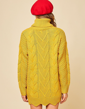 Load image into Gallery viewer, Cable Knit Pattern Detail Turtleneck Sweater - La Mère Clothing + Goods