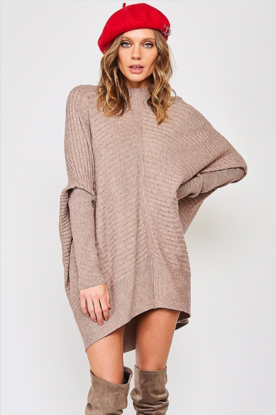 Ribbed Knit Dolman Sleeve Sweater - La Mère Clothing + Goods