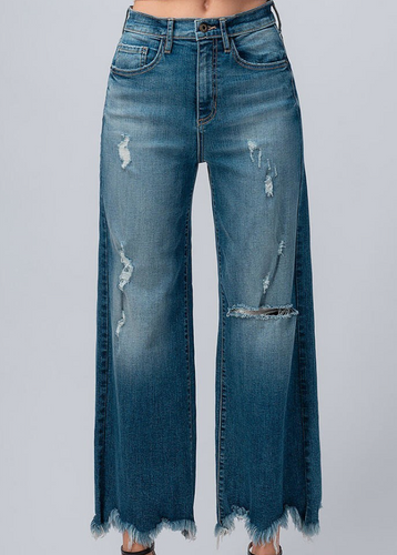 Distressed Hem Wide Leg Denim - La Mère Clothing + Goods