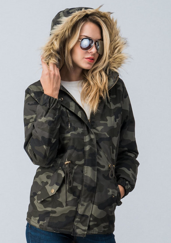 Camouflage Jacket with Faux-Fur Hood - La Mère Clothing + Goods